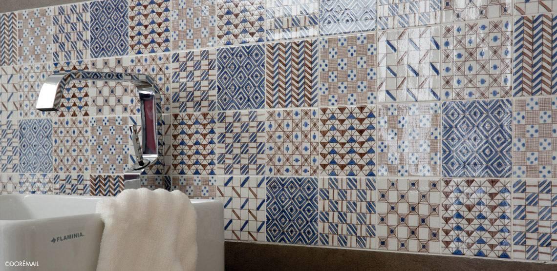 Hand painted ceramic tiles : unique bathroom tiles
